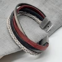 Leder-Armband Farbmix Rot/Schwarz Bild 6