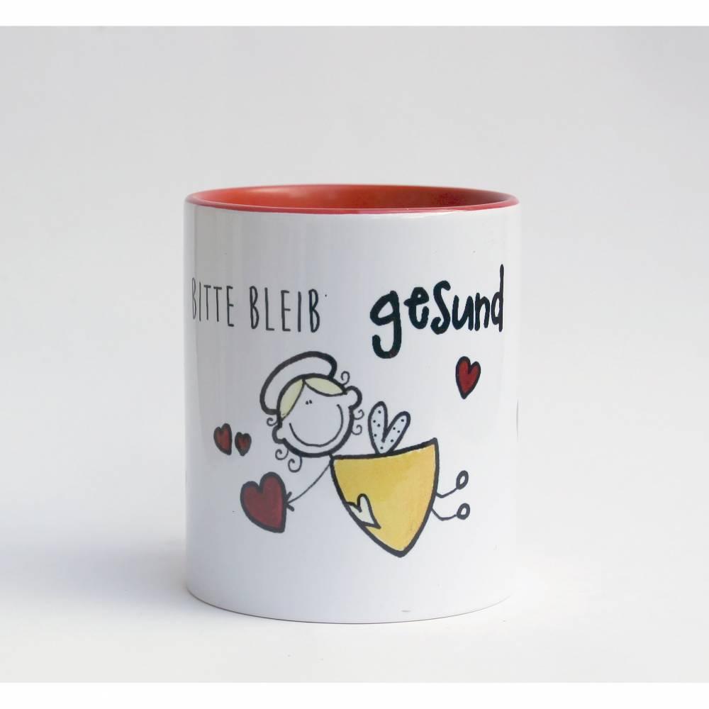 Kaffeetasse Schutzengel Bitte Bleib gesund Corona Motivation Rot Geschenkkarton  EInführungspreis Bild 1