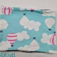 Schlauchschal / Schlupfschal / Loop / Halswärmer Gr. S aus Jersey, warm gefüttert, hellblau mit Heißluftballons Bild 2