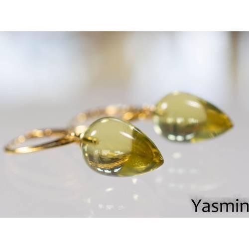 Lemon-Citrin Pampeln an vergoldetem 925er Silber