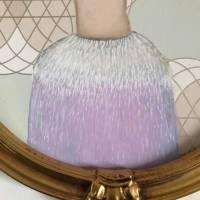 Grete mit Straußenkleid Acrylbild lacaluna goldener Rahmen Bild 6