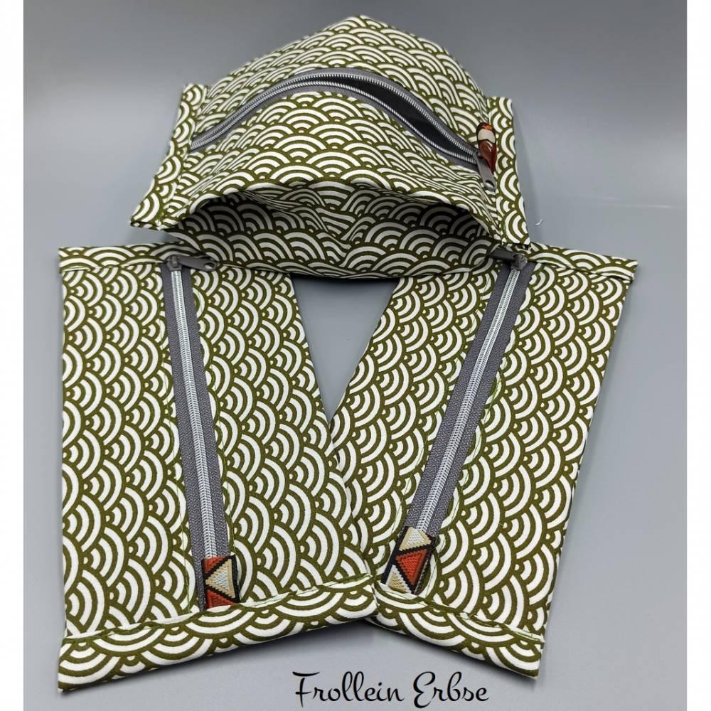 Täschchen mit Reißverschluss im Retrodesign, super für ergonomische Masken geeignet Bild 1