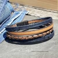 Armband Leder und Kork in Blau und Braun Bild 1