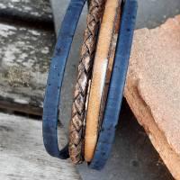 Armband Leder und Kork in Blau und Braun Bild 4