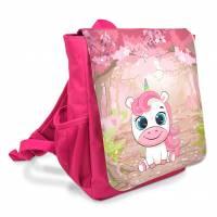 """Kindergarten Rucksack farbenfroh bedruckt mit Name oder ohne personalisierung """"Einhorn im Wald"""" Bild 1"""