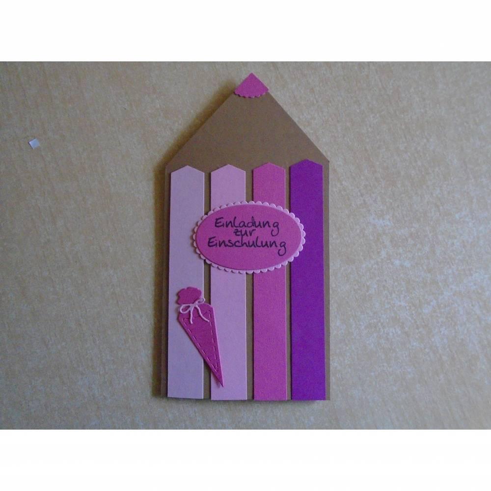 Einladungskarten Einschulung ,Schulanfang,Einladungkarte,Einladung, Mädchen,Schule, Stiftkarte,Rosa,Pink.Karte Bild 1