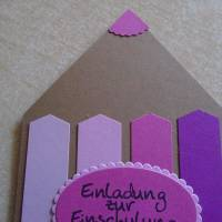 Einladungskarten Einschulung ,Schulanfang,Einladungkarte,Einladung, Mädchen,Schule, Stiftkarte,Rosa,Pink.Karte Bild 3