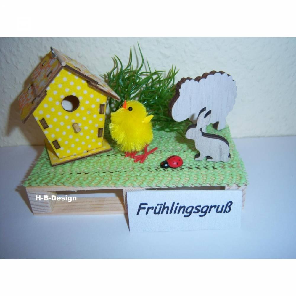 Geldgeschenk-Ostern-Geburtstag, Frühlingslandschaft auf einer Holz-Palette Bild 1