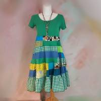 Kleid 44 - 46 Tunika Handmade Upcycling Unikat Hippikleid Maxikleid grün karo K67 grün smaragd Karomuster Baumwolle Bild 1