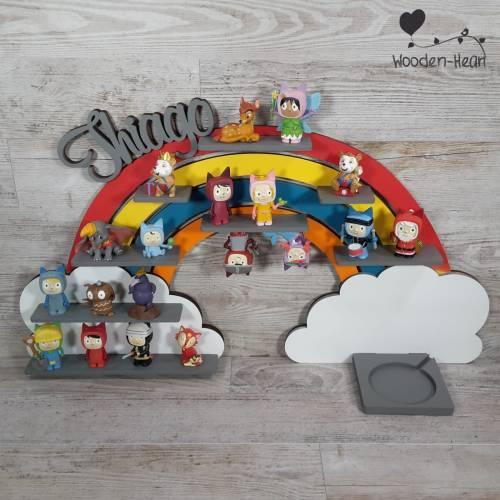 Musikboxregal ,, Regenbogen bunt '' personalisiert mit Namen nach Farbwunsch für Toniebox Regal mit Magnetband P