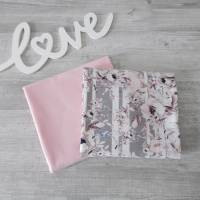Stoffpaket Jersey Blumen grau/weiß / uni rosa 2 x 50cm VB Bild 1