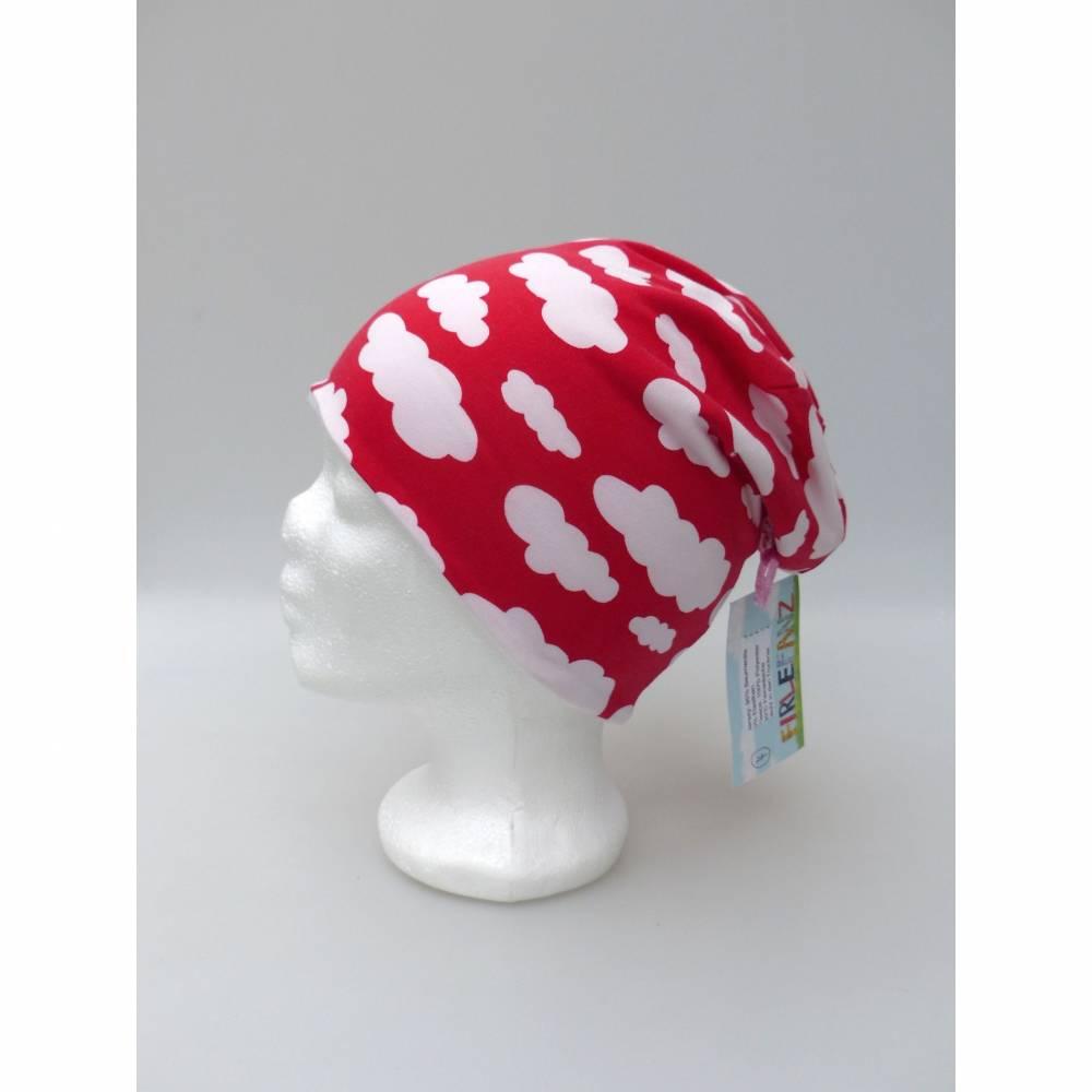 Warme Kinder-Winter-Mütze, rote Long-Beanie mit Wolken, Jersey mit Fleece gefüttert, Gr 49/50/51/52cm (1 bis 3 LJ) Bild 1
