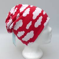 Warme Kinder-Winter-Mütze, rote Long-Beanie mit Wolken, Jersey mit Fleece gefüttert, Gr 49/50/51/52cm (1 bis 3 LJ) Bild 3