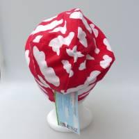 Warme Kinder-Winter-Mütze, rote Long-Beanie mit Wolken, Jersey mit Fleece gefüttert, Gr 49/50/51/52cm (1 bis 3 LJ) Bild 5