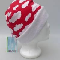 Warme Kinder-Winter-Mütze, rote Long-Beanie mit Wolken, Jersey mit Fleece gefüttert, Gr 49/50/51/52cm (1 bis 3 LJ) Bild 6