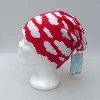 Warme Kinder-Winter-Mütze, rote Long-Beanie mit Wolken, Jersey mit Fleece gefüttert, Gr 49/50/51/52cm (1 bis 3 LJ) Bild 7