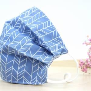 Maske Fischgräten Blau, Mund und Nasenschutz mit Nasenbügel für Brillenträger, verstellbarer Mundschutz für Damen, Kinde Bild 1