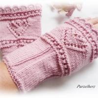 Handgestrickte Armstulpen/Pulswärmer mit Lochmuster u. Spitze für Große - Damenstulpen,Handstulpen,altrosa Bild 2