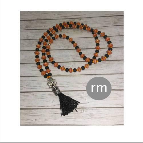 mala/gebetskette/bettelkette/LEBENSFEUER MALA/buddha/spiritualität/buddha/buddhismus/geschenk/orange/schwarz/ethno/esoterik