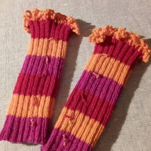 Warme Yogastulpen, orange, pink, rot, handgestrickt Bild 1