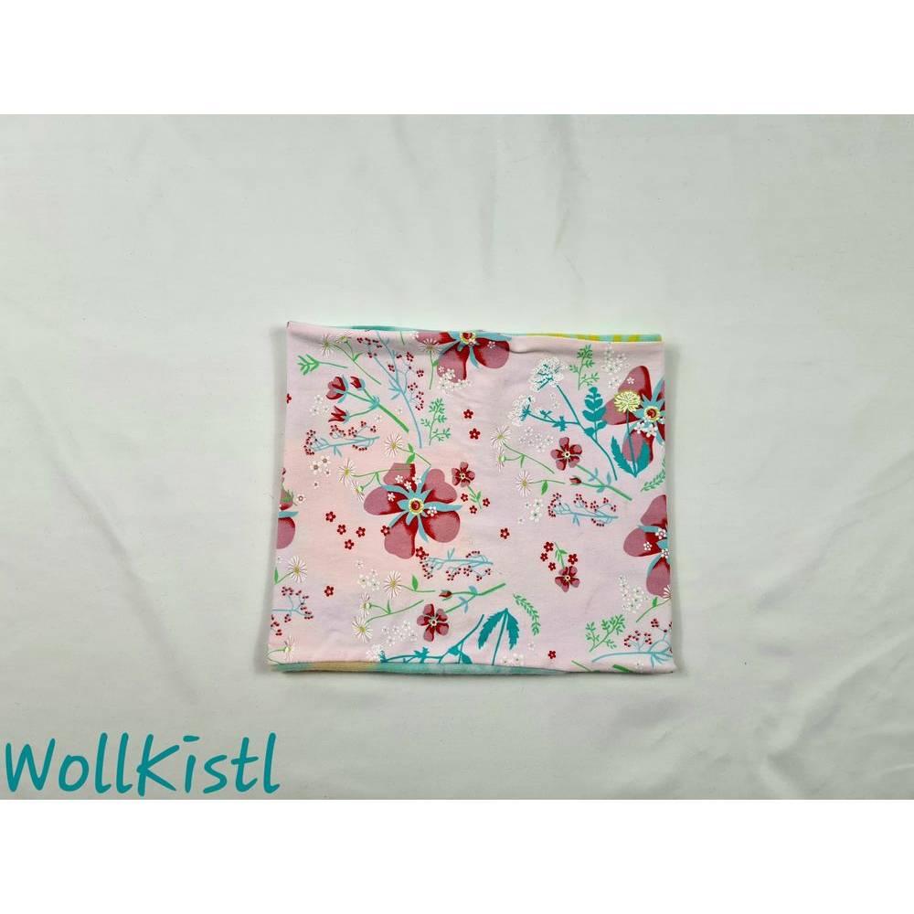 Schlauchschal / Schlupfschal / Loop / Halswärmer Gr. L aus Jersey, warm gefüttert, rosa mit Blumen Bild 1