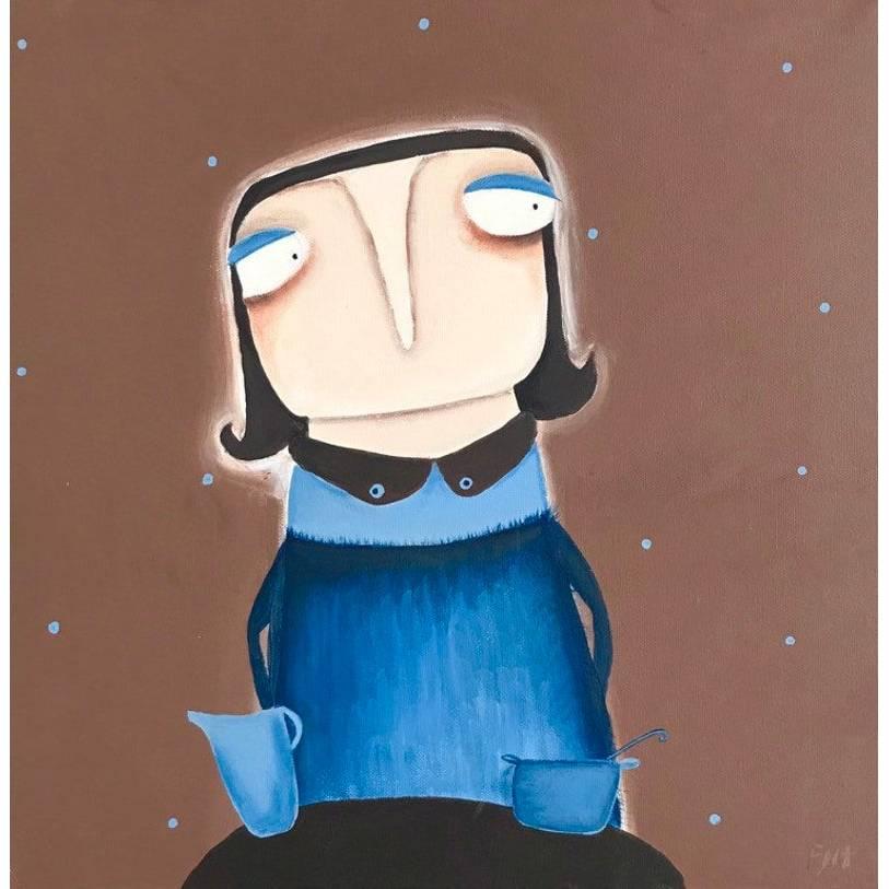 Anne-Gret Serwuschok kocht frische Braunbärsoße Acrylbild lacaluna Portrait Gemälde Malerei Kunst Bild 1