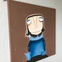 Anne-Gret Serwuschok kocht frische Braunbärsoße Acrylbild lacaluna Portrait Gemälde Malerei Kunst Bild 2