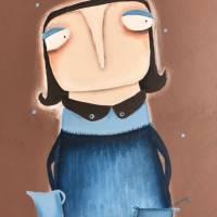 Anne-Gret Serwuschok kocht frische Braunbärsoße Acrylbild lacaluna Portrait Gemälde Malerei Kunst Bild 4