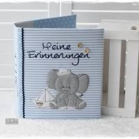 Ordner/Portfolio hellblau gemustert mit Elefant maritim und Stickerei 'Meine Erinnerungen' Bild 1