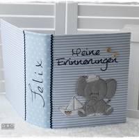 Ordner/Portfolio hellblau gemustert mit Elefant maritim und Stickerei 'Meine Erinnerungen' Bild 3