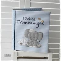 Ordner/Portfolio hellblau gemustert mit Elefant maritim und Stickerei 'Meine Erinnerungen' Bild 4