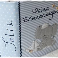 Ordner/Portfolio hellblau gemustert mit Elefant maritim und Stickerei 'Meine Erinnerungen' Bild 5