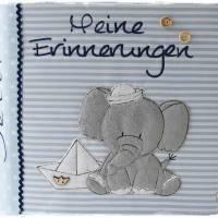 Ordner/Portfolio hellblau gemustert mit Elefant maritim und Stickerei 'Meine Erinnerungen' Bild 6