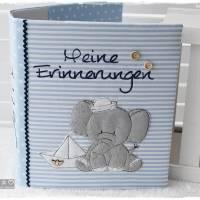 Ordner/Portfolio hellblau gemustert mit Elefant maritim und Stickerei 'Meine Erinnerungen' Bild 7