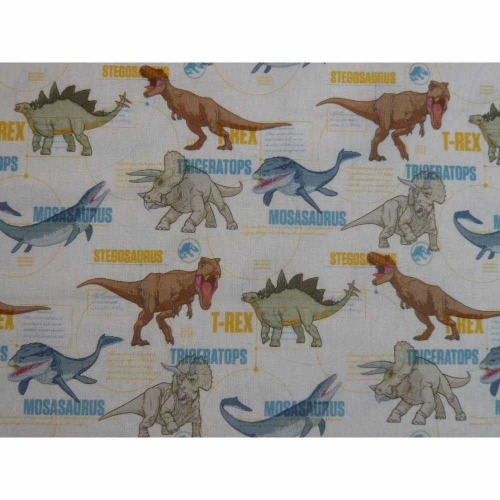 12,90 EUR/m Stoff Baumwolle - Jurassic World, Dinos bunt auf weiß, Kinderstoff, Lizenzstoff Bild 1