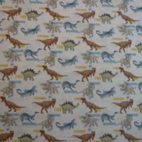 12,90 EUR/m Stoff Baumwolle - Jurassic World, Dinos bunt auf weiß, Kinderstoff, Lizenzstoff Bild 2