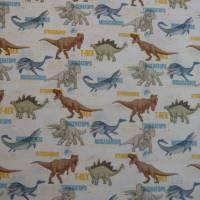 12,90 EUR/m Stoff Baumwolle - Jurassic World, Dinos bunt auf weiß, Kinderstoff, Lizenzstoff Bild 3