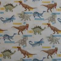12,90 EUR/m Stoff Baumwolle - Jurassic World, Dinos bunt auf weiß, Kinderstoff, Lizenzstoff Bild 4