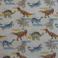 12,90 EUR/m Stoff Baumwolle - Jurassic World, Dinos bunt auf weiß, Kinderstoff, Lizenzstoff Bild 5