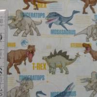 12,90 EUR/m Stoff Baumwolle - Jurassic World, Dinos bunt auf weiß, Kinderstoff, Lizenzstoff Bild 6