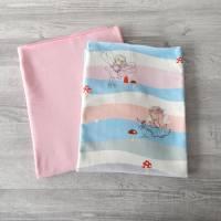 Stoffpaket Jersey mit Feen / uni rosa 2 x 50cm VB Bild 2