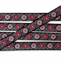 Daisy Dots Webband, floral, Blumen Borte, rot, 22mm, 1 Meter Bild 1