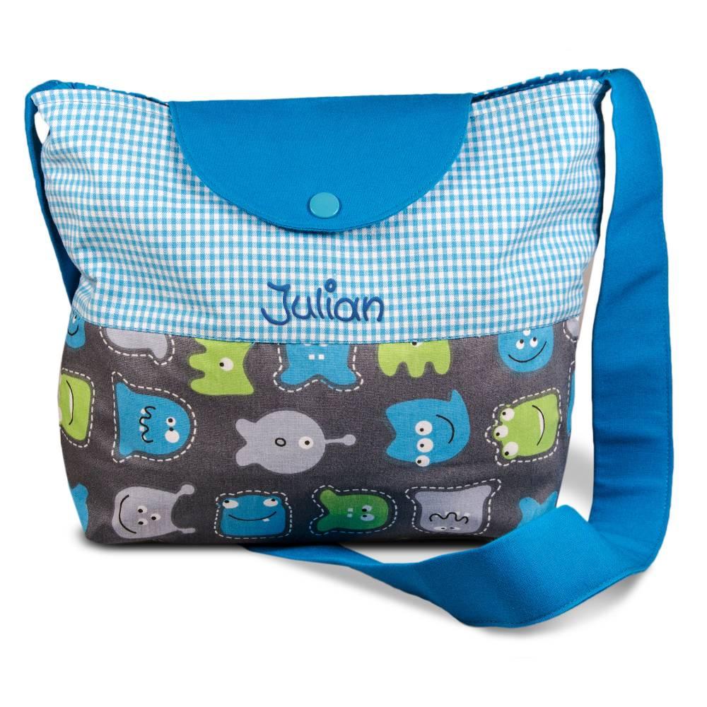 Kindertasche mit Namen Monster blau zum umhängen  - Personaliesierte Kindergartentasche Umhängetasche für Kinder Bild 1