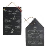 Wetterstein Wetterstation Wetterschild aus Schiefer Motiv wenn Stein in versch.Varianten ca H 30 x B 20cm Gartendeko Bild 1