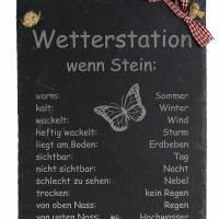 Wetterstein Wetterstation Wetterschild aus Schiefer Motiv wenn Stein in versch.Varianten ca H 30 x B 20cm Gartendeko Bild 2
