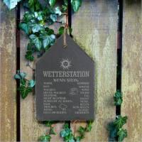 Wetterstein Wetterstation Wetterschild aus Schiefer Motiv wenn Stein in versch.Varianten ca H 30 x B 20cm Gartendeko Bild 4