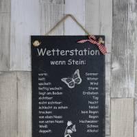 Wetterstein Wetterstation Wetterschild aus Schiefer Motiv wenn Stein in versch.Varianten ca H 30 x B 20cm Gartendeko Bild 5