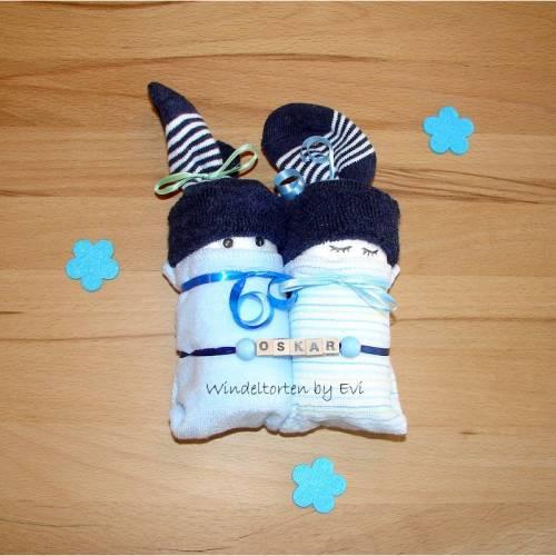 personalisierte Windelbabys für Junge, Windeltorte mit Namen, Mitbringsel zur Geburt oder Taufe, Zugabe zum Geldgeschenk