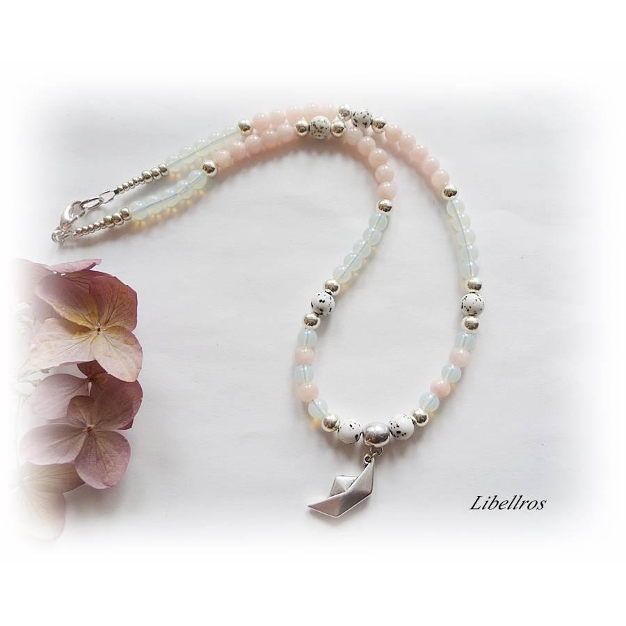 Kurze Kette mit Metallanhänger Papierschiffchen - Halskette,Edelstein,verspielt,modern,rosa,weiß Bild 1