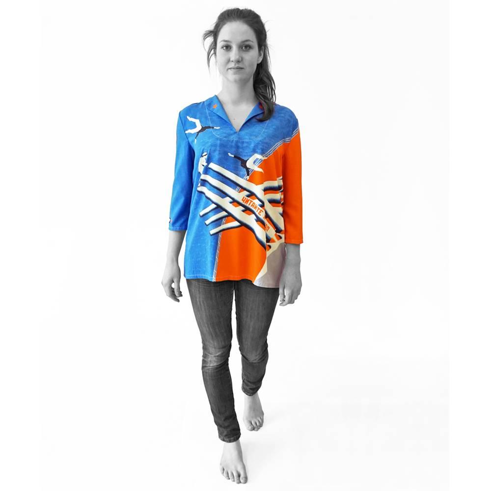 lange farbige Bluse mit 3/4 Arm, Russischer Konstruktivismus Bild 1